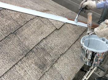 屋根隅棟 上塗り