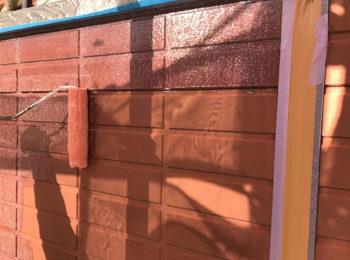 外壁 サビ止め塗装中