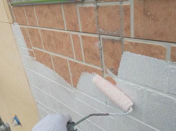 外壁タイル調部分 下塗り