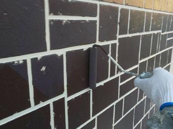外壁タイル調部分 上塗り