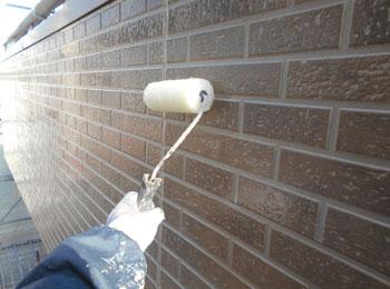 外壁タイル調部分クリア―塗装